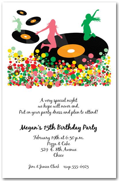 music themed birthday quotes spin the vinyl records party invitations