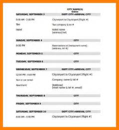 Traveling Itinerary Templates 4 itinerary format for travel protect letters