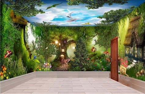 Whole Wall Murals custom 3d ceiling wall murals wallpaper forest cabin whole