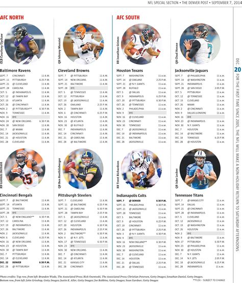 2014 nfl schedules for all 32 teams the denver post