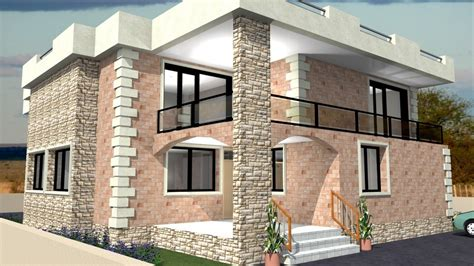 redesign my house and render with a modern flat roof with