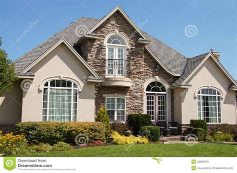 4 Bedroom Country House Plans by Stucco Stone House Pretty Windows Stock Photo Image