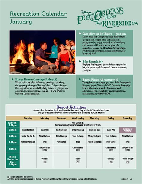 javascript printable version port orleans monthly recreational activities and