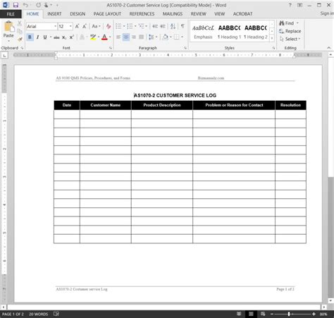 customer service spreadsheet template customer service log