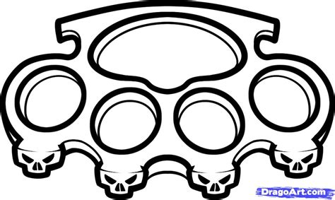 how to draw brass knuckles brass knuckles step by step