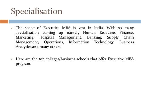 Different Types Of Mba Specialisation In India by Ppt Top Executive Mba Colleges In India Powerpoint