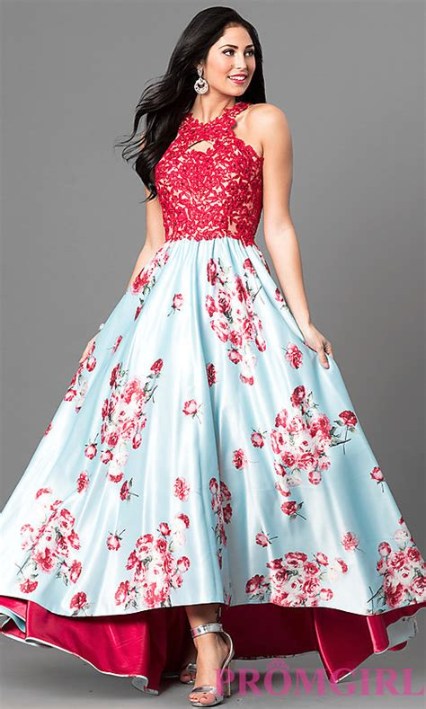 Floral Print Lace Dress floral print high low prom dress with lace promgirl