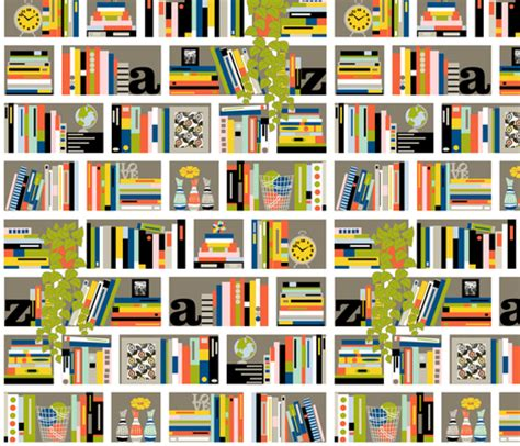library pattern fabric staxx books shelves reading typography stripes plant