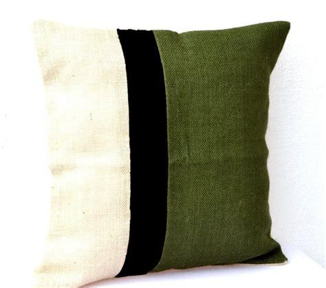Pillow Moss by Throw Pillow Cover Burlap Color Block Cushion Moss Green