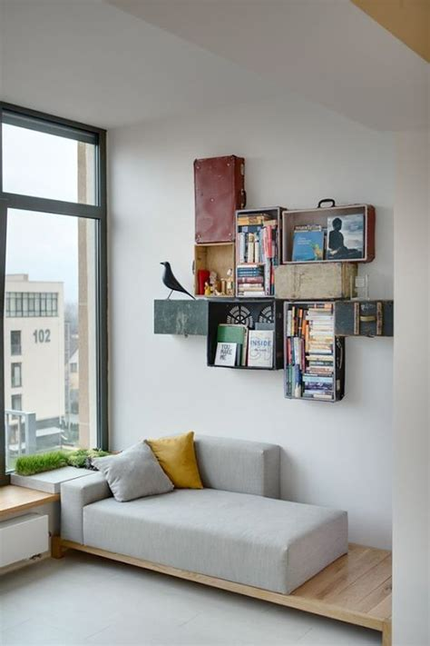 sofa mit ausziehbarem bett wall mounted box shelves a trendy variation on open shelves