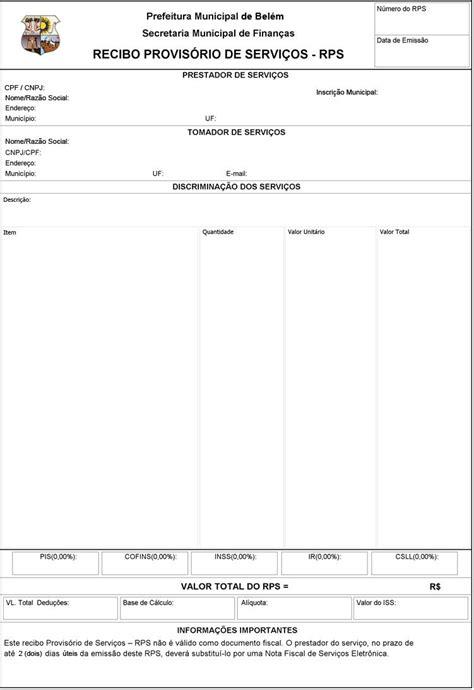 Belém/PA - ISS - Recibo Provisório de Serviços - Modelo