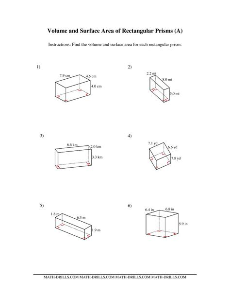 volume and surface area of rectangular prisms a