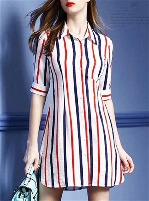 Blue Stripe S M L Dress 44985 s striped shirt dress white and blue