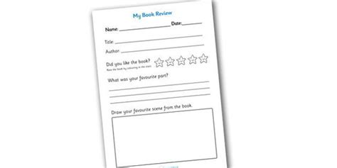 Book Review Template Primary Resources