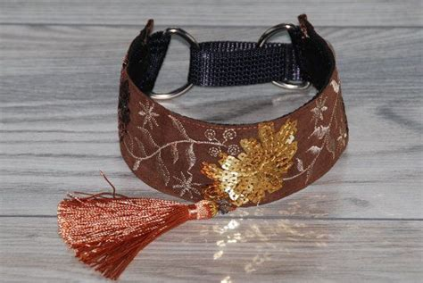 Handmade Whippet Collars - greyhound collar with tassel saluki whippet lurcher