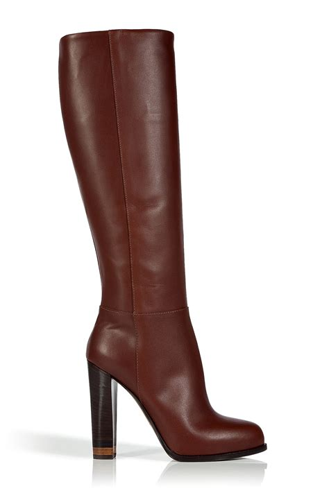 high heel brown leather boots fendi chocolate high heel leather boots in brown lyst