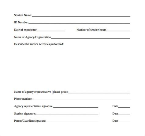 community service form template sle service hour form 13 free documents in