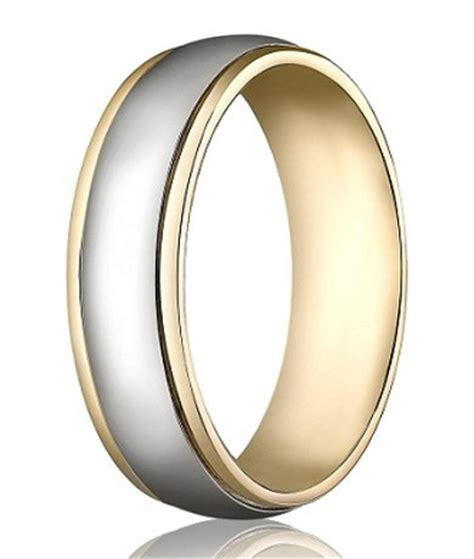 14k yellow white gold wedding band 6 mm designer two