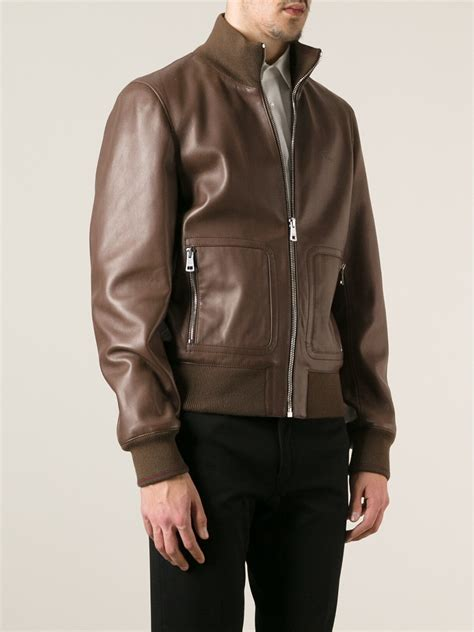 Guc Ci Leather Brown lyst gucci leather jacket in brown for