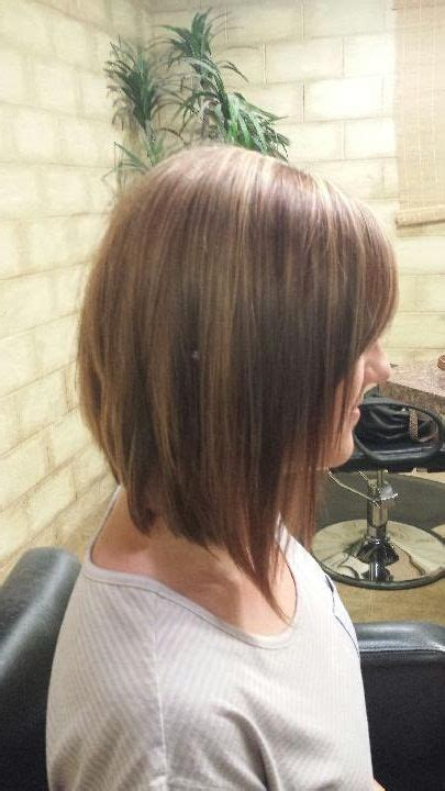 medium length inverted bob haircut pictures long inverted bob brown with caramel highlights shoulder