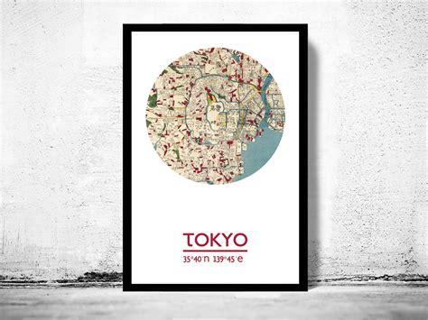 tokyo city poster city map poster print  storenvy