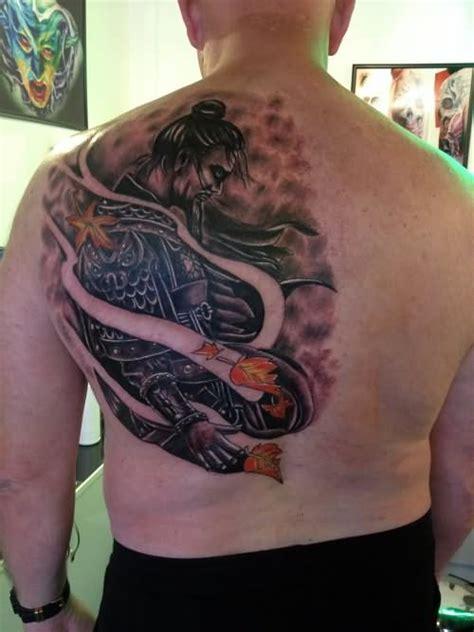 tattoo back left man left back shoulder samurai tattoos