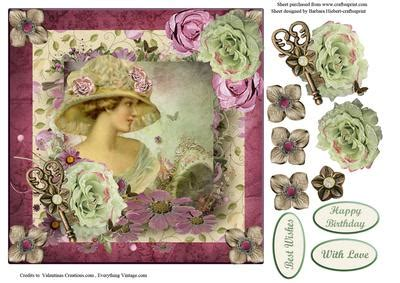 Free Decoupage Downloads For Card - portrait with decoupage cup421226