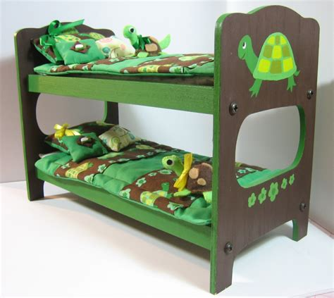 cute wood turtle bunk bed with bedding for blythe and dal
