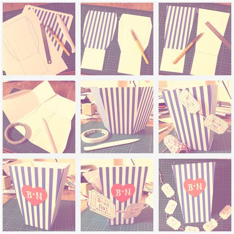 How To Make A Paper Popcorn Box - d i y blue white popcorn box