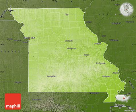 physical map of missouri physical map of missouri darken