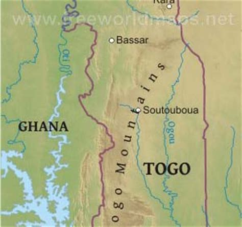 physical map of togo togo physical map