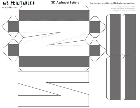 Mrprintables 3d Alphabet Templates N To Z 3d Letter Templates To Cut Out