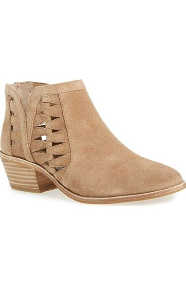 Winter Shoes Most Stylish Cutout Shoes by Vince Camuto Peera Suede Cutout Bootie Chunky Mid Heel
