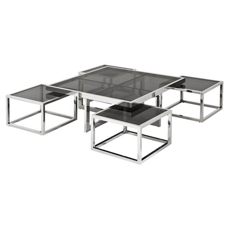 black glass square coffee table eichholtz brubeck silver black glass 5