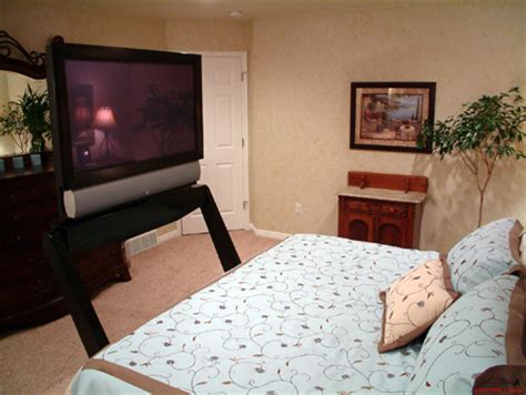 bed tv mount feature company creates plasma tv lift that slides out