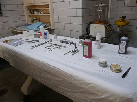 martinez funeral home embalming room and instruments