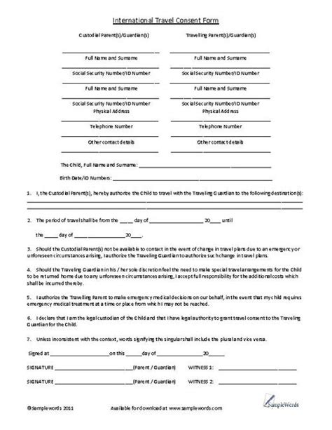 parental consent to travel form template 10 best images about forms on childcare