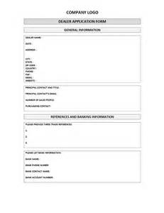 Client Application Form Template by Dealer Application Form Freewordtemplates Net
