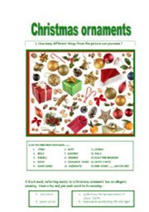 english worksheets christmas ornaments and their meanings