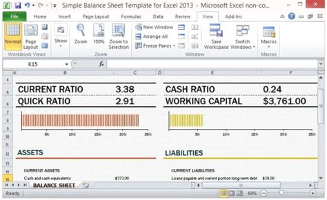 financial ratio analysis template excel simple balance sheet template for excel 2013 with working