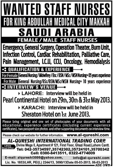 Online Jobs In Saudi Arabia Work From Home - saudi arabia jobs for staff nurses required