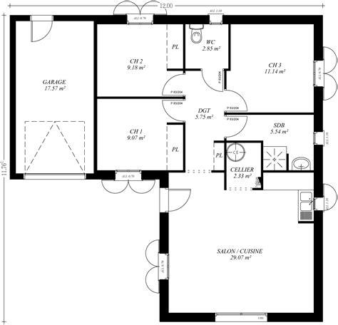 plan de maison de plain pied avec 3 chambres cuisine plan maison moderne gratuit plan de maison en l