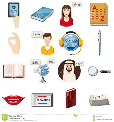 Wardrobe Translation by Foreign Language Icons Set Style Vector