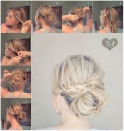Messy braid bun for medium hair updos tutorials via