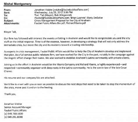 Letter Offering Services Exle Oc Politics Pr Firm With Ties To Curt Pringle Offers To Help Anaheim Pacify Their Latinos