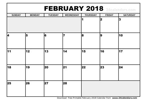 Calendar Doc February 2018 Printable Calendar Calendar Doc