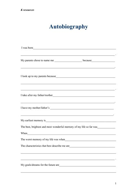 biography writing format worksheets autobiography worksheets wiildcreative