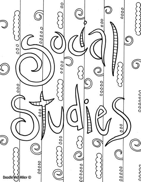 Social Studies Coloring Pages subject cover pages coloring pages classroom doodles