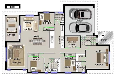 Single Storey Floor Plan by Type Modern Four Bedroom House Plans Modern House Design