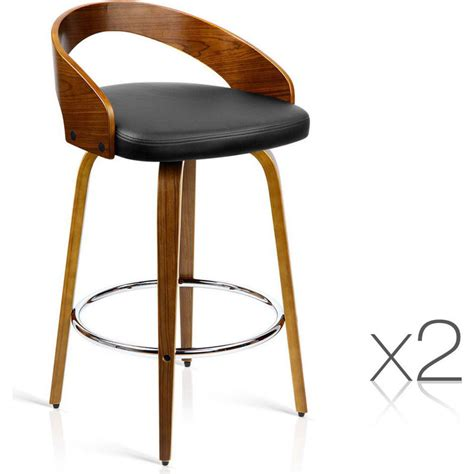 bar stools wood and leather 2x faux leather wood rail bar stool walnut buy wooden